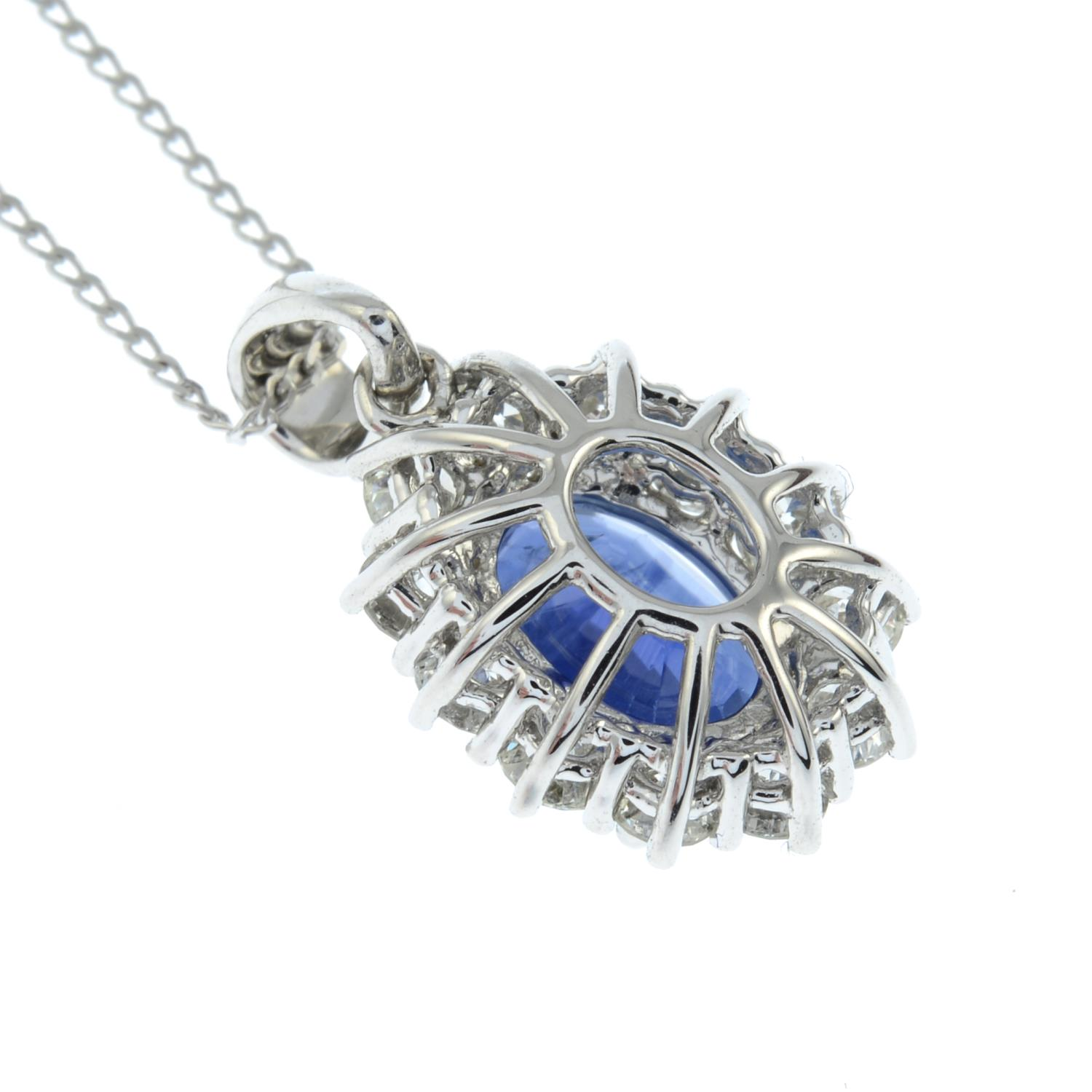 An 18ct gold sapphire and brilliant-cut diamond cluster pendant, - Image 4 of 5