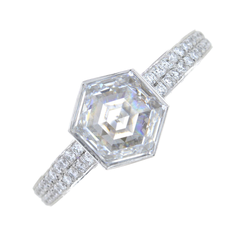 A platinum hexagonal-cut diamond single-stone ring, - Image 2 of 7