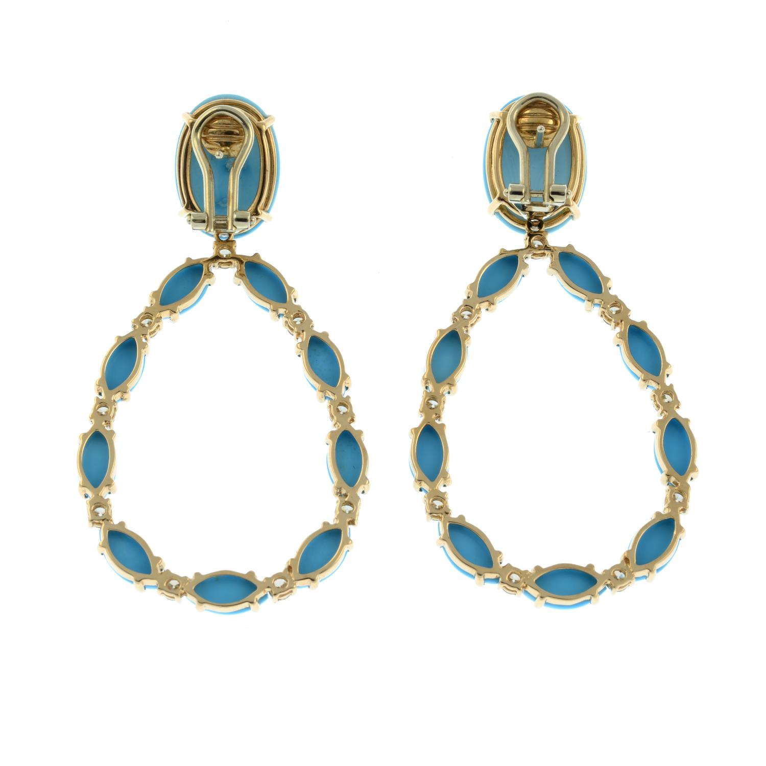 A pair of turquoise and brilliant-cut 'brown' diamond earrings, - Image 3 of 3