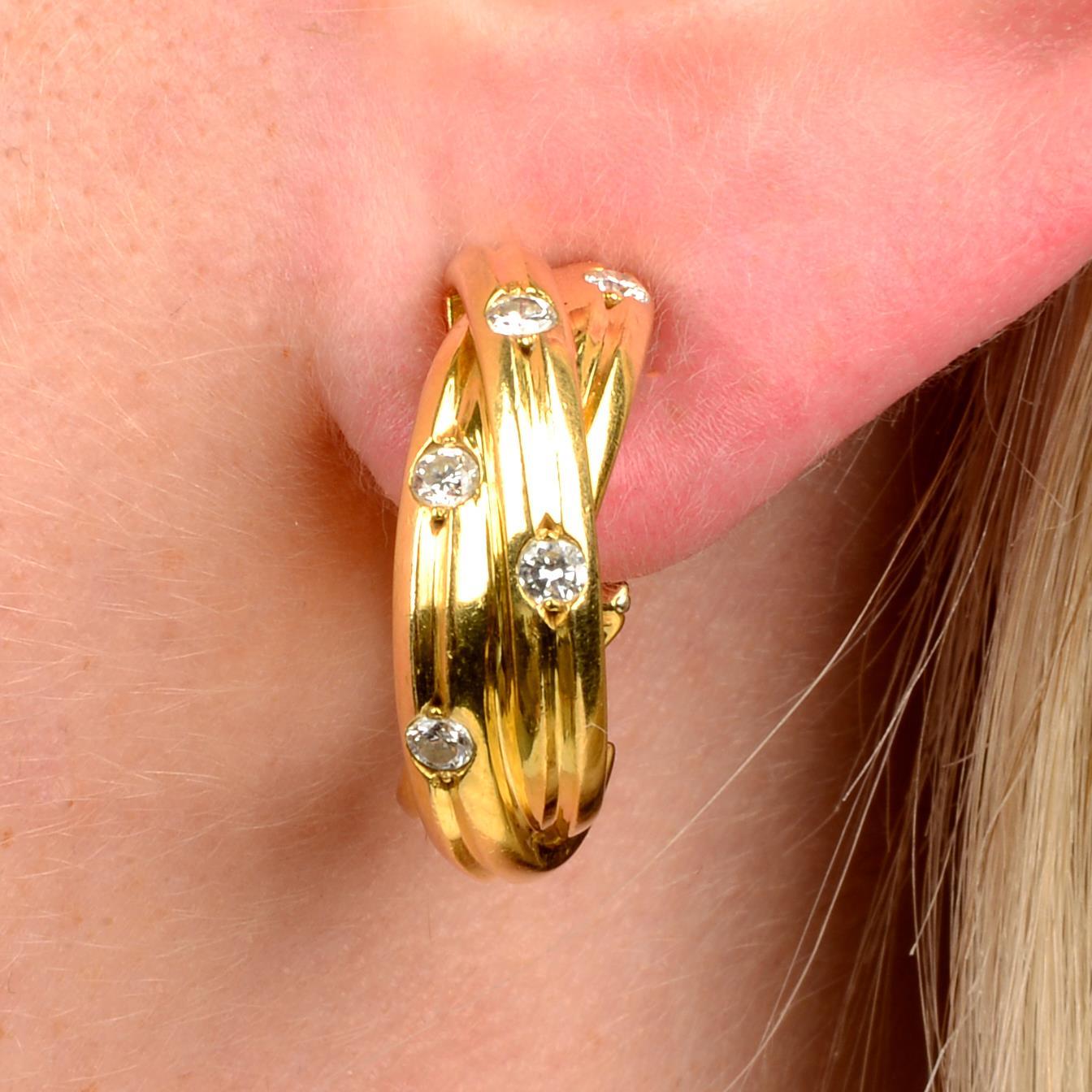 A pair of diamond 'Trinity' hoop earrings,
