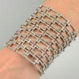 A diamond rectangular panel lattice bracelet.