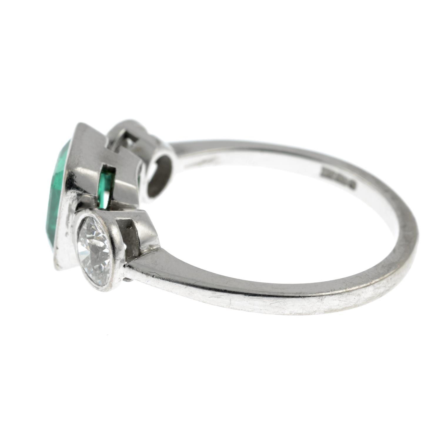 An 18ct gold emerald and old-cut diamond three-stone ring.Emerald calculated weight 1.04cts, - Image 4 of 6