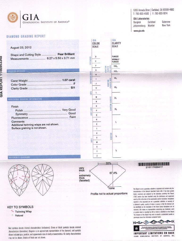 A pear-shape diamond three-stone ring.With report 1146953348, - Image 7 of 7