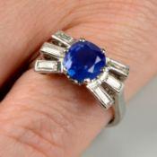 A mid 20th century platinum, Kashmir sapphire and baguette-cut diamond ring.