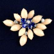 An 18ct gold Burmese sapphire, coral and diamond brooch, by Cartier.