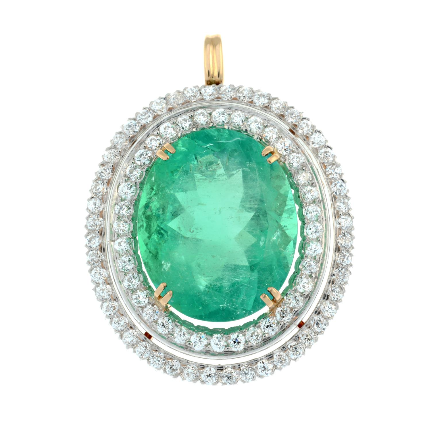 An emerald and circular-cut diamond pendant.With report 17203, - Image 2 of 5