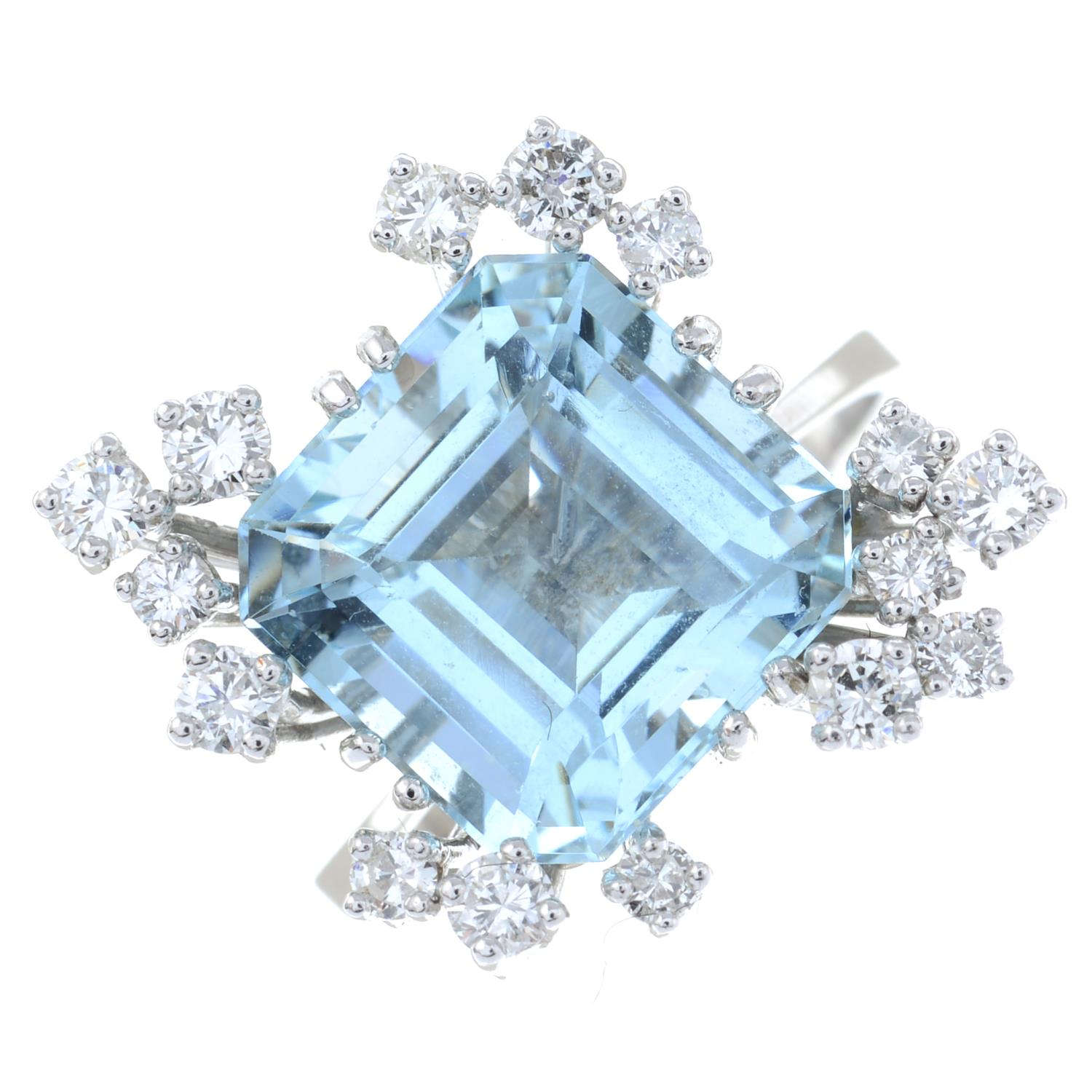 A 1970s 18ct gold aquamarine and diamond cocktail ring.Aquamarine calculated weight 7.20cts, - Image 2 of 6