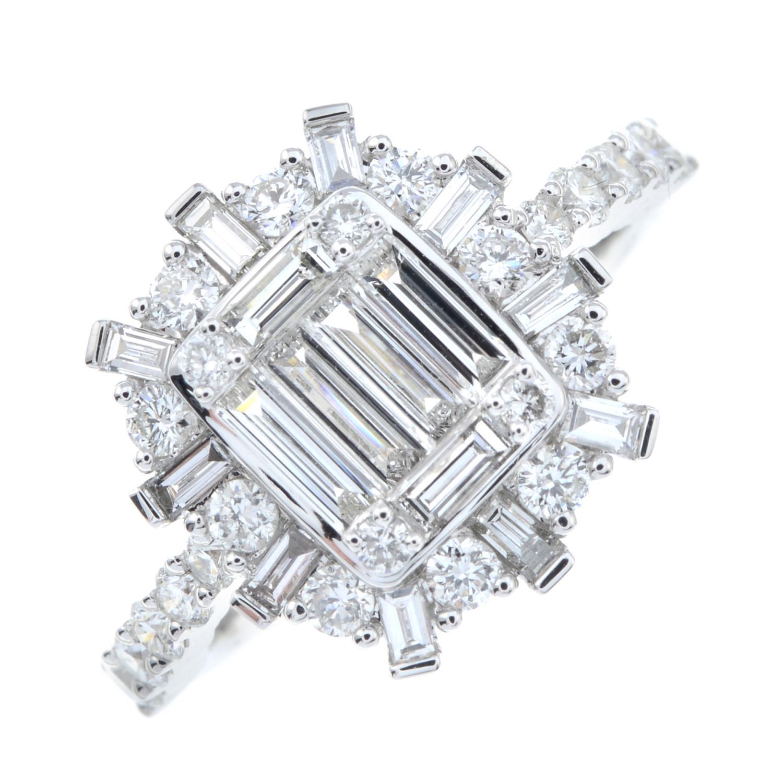 A vari-cut diamond cluster ring. - Image 2 of 6