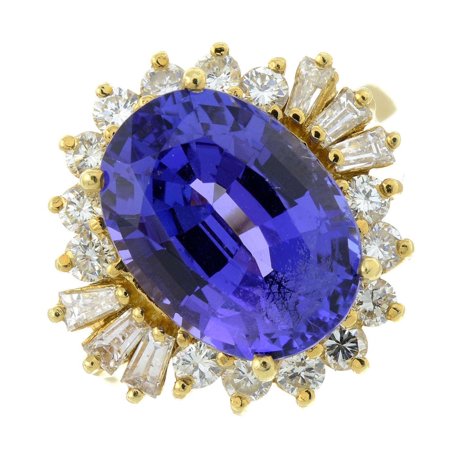 A tanzanite and vari-cut diamond cluster ring.Tanzanite calculated weight 5.41cts, - Image 2 of 6