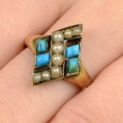 A late Victorian 15ct gold turquoise and split pearl ring.Ring size P.