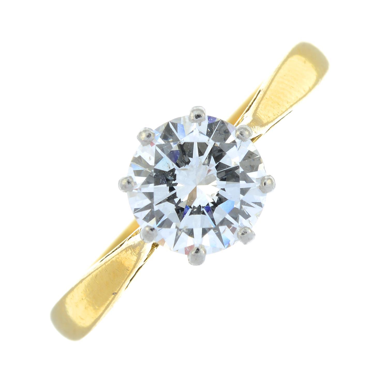 An 18ct gold brilliant-cut diamond single-stone ring.Diamond estimated weight 1.30cts, - Image 2 of 6