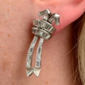 A pair of mid 20th century platinum vari-cut diamond earrings,