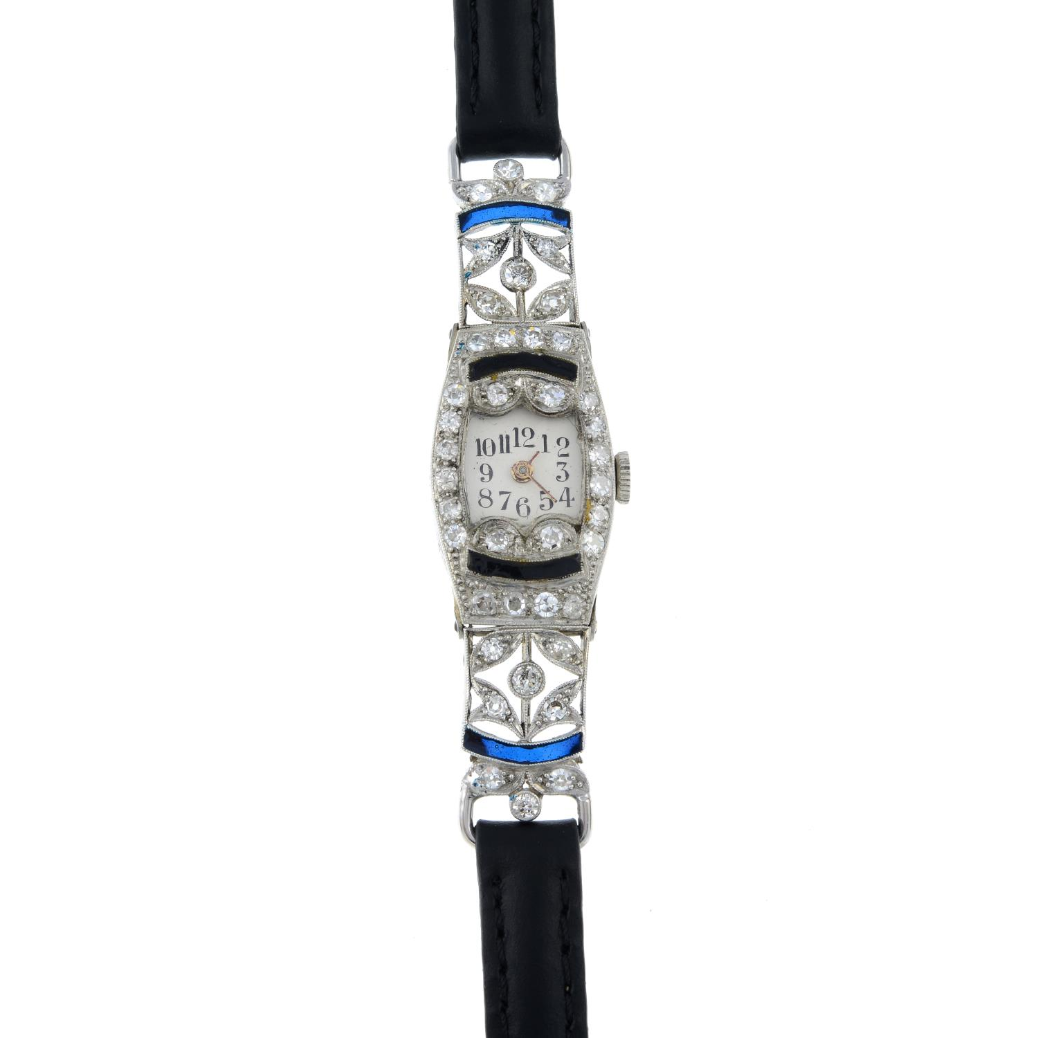 A mid 20th century platinum enamel and diamond cocktail watch, with later leather strap. - Image 2 of 4
