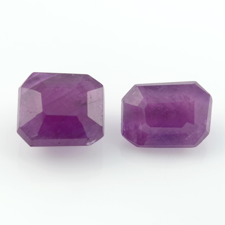 Two unheated rectangular shape rubies, weighing 5.04ct.