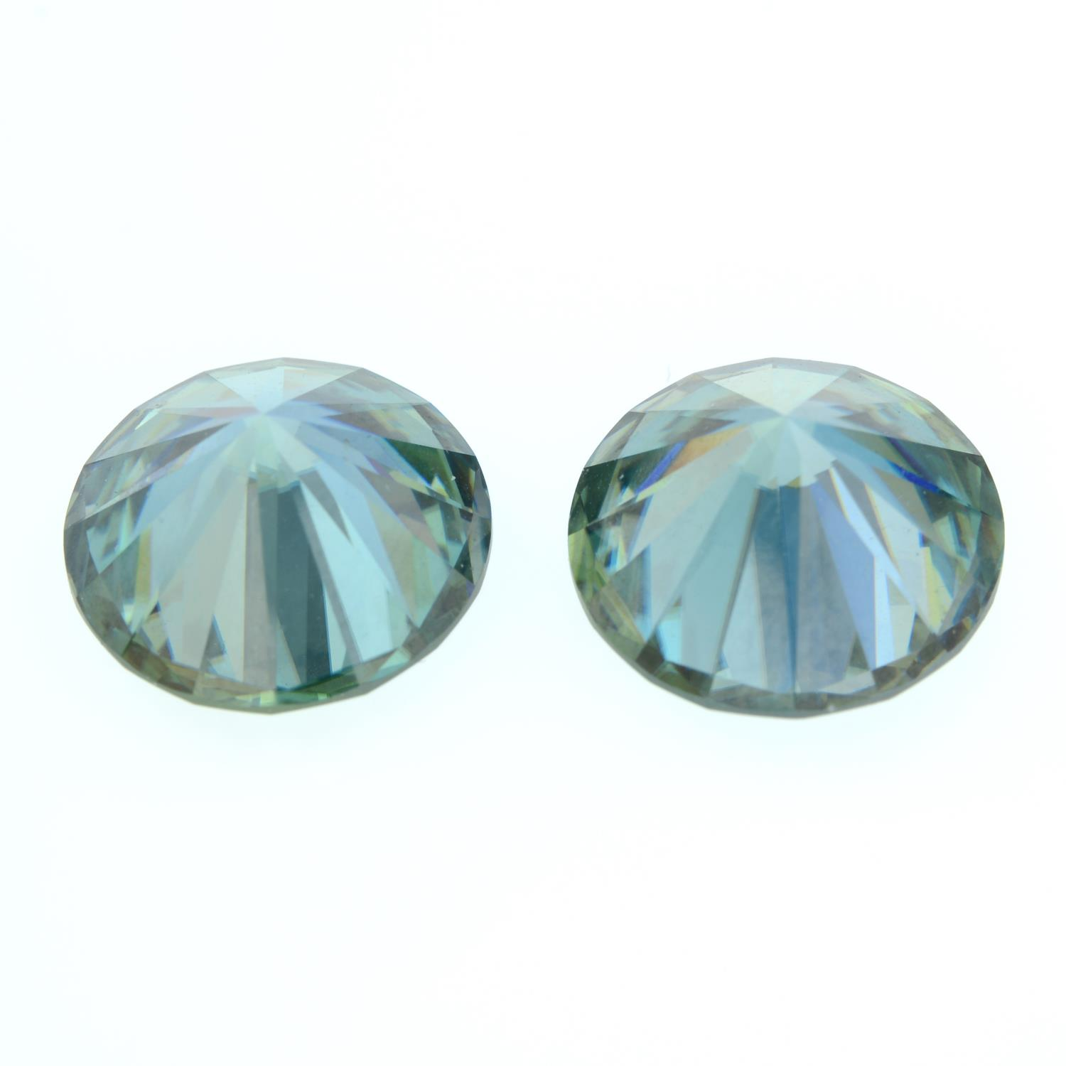 A pair of circular-shape green synthetic moissanite, weighing 13.72cts total. - Image 2 of 2