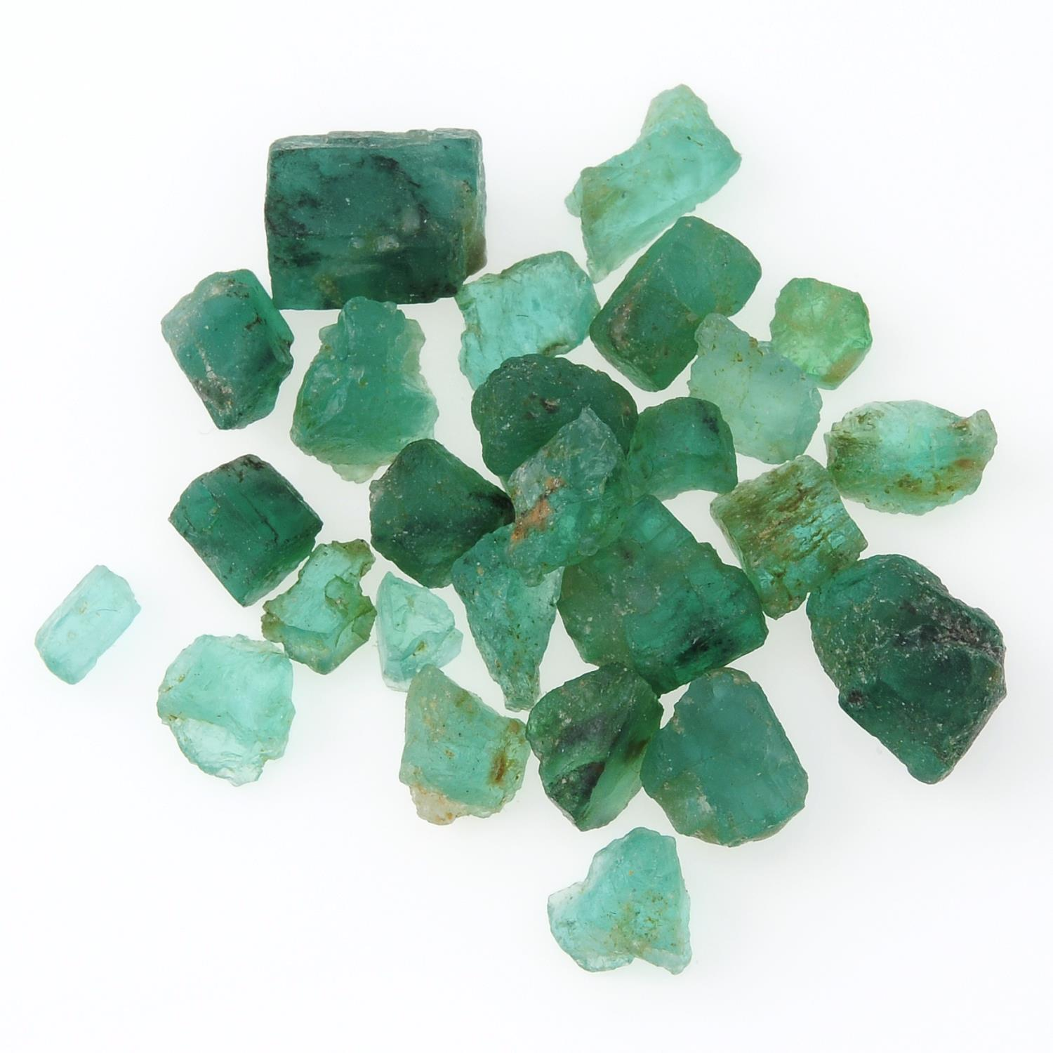 A selection of rough emeralds.