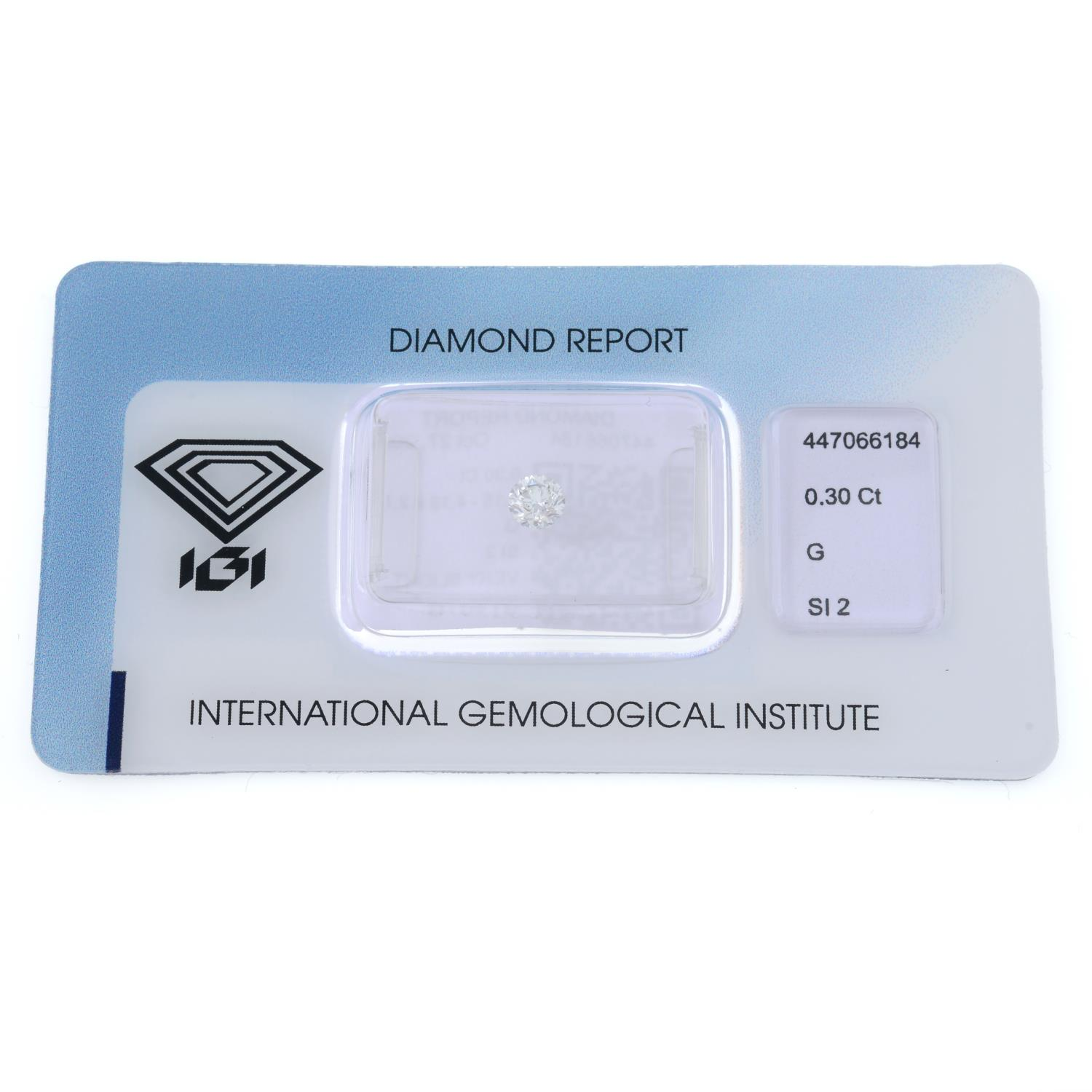 A brilliant cut diamond, weighing 0.30ct, measuring 4.15 by 4.18 by 2.74mms. - Image 2 of 4