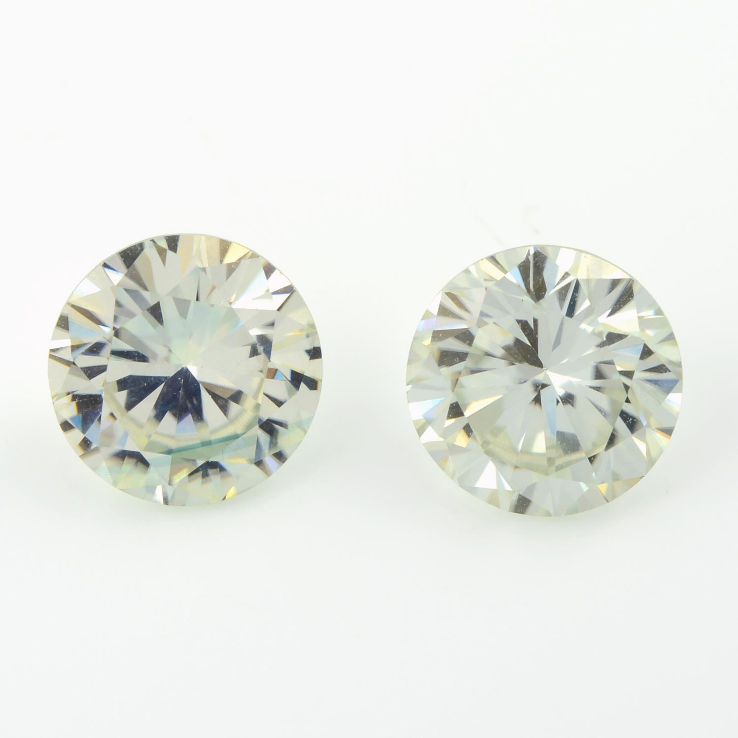 A pair of circular-shape synthetic moissanites.