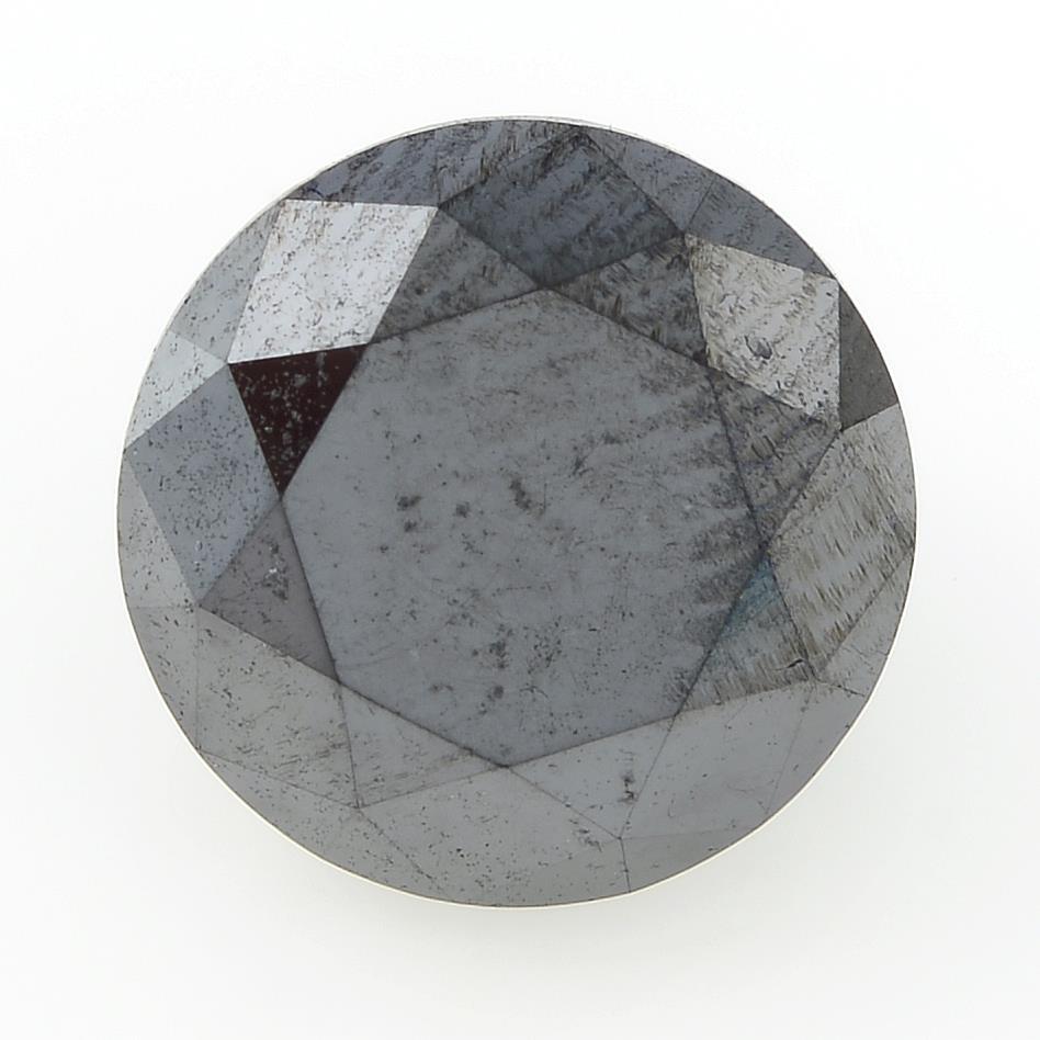 A circular shape black gemstone, weighing 3.08ct.