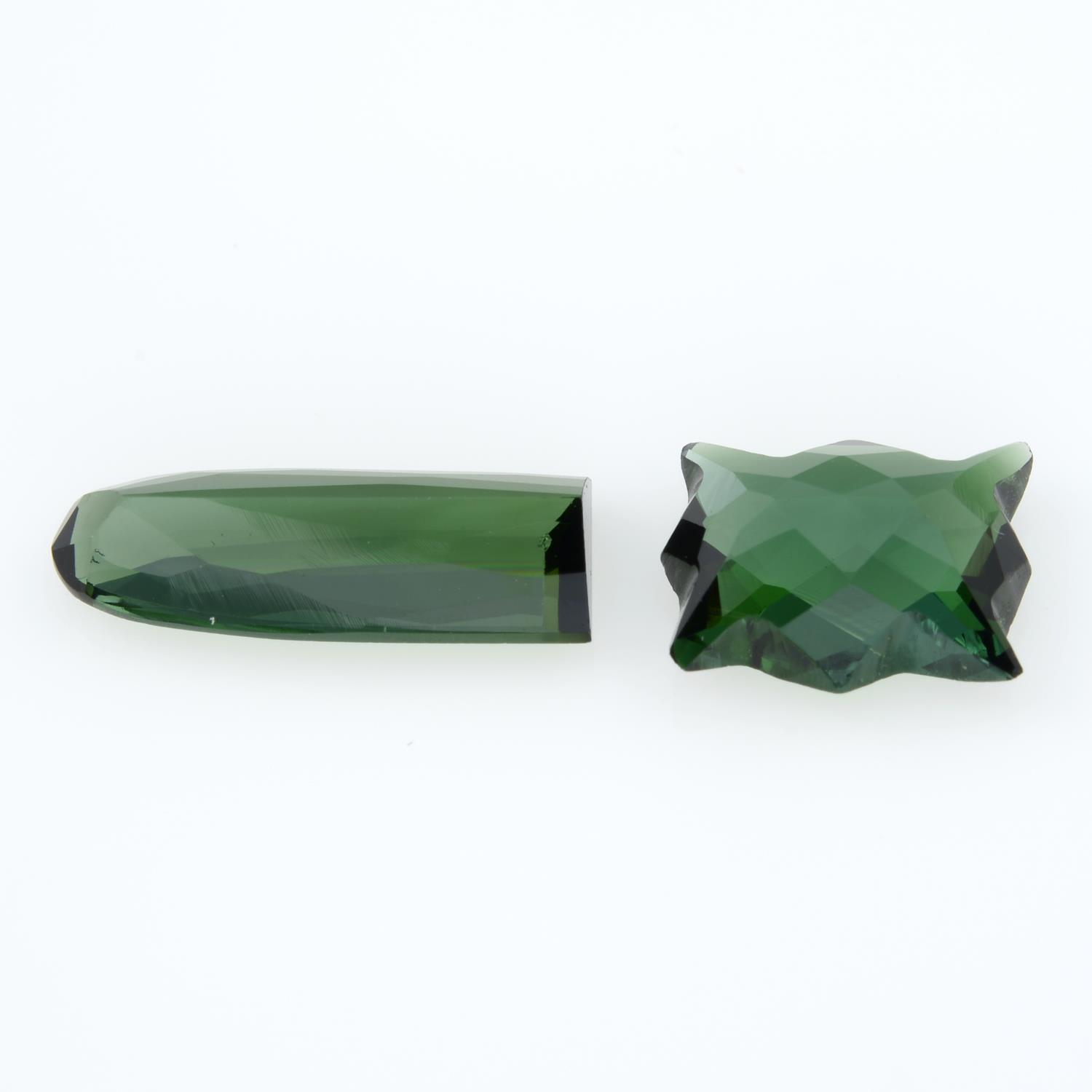 Two fancy shape green tourmalines, weighing 4.96ct. - Image 2 of 2