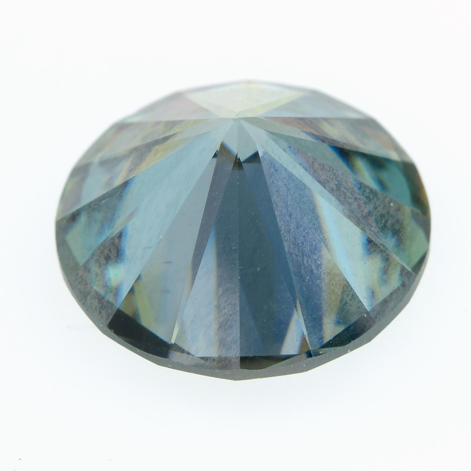 A circular-shape green synthetic moissanite, weighing 7.53cts. - Image 2 of 2