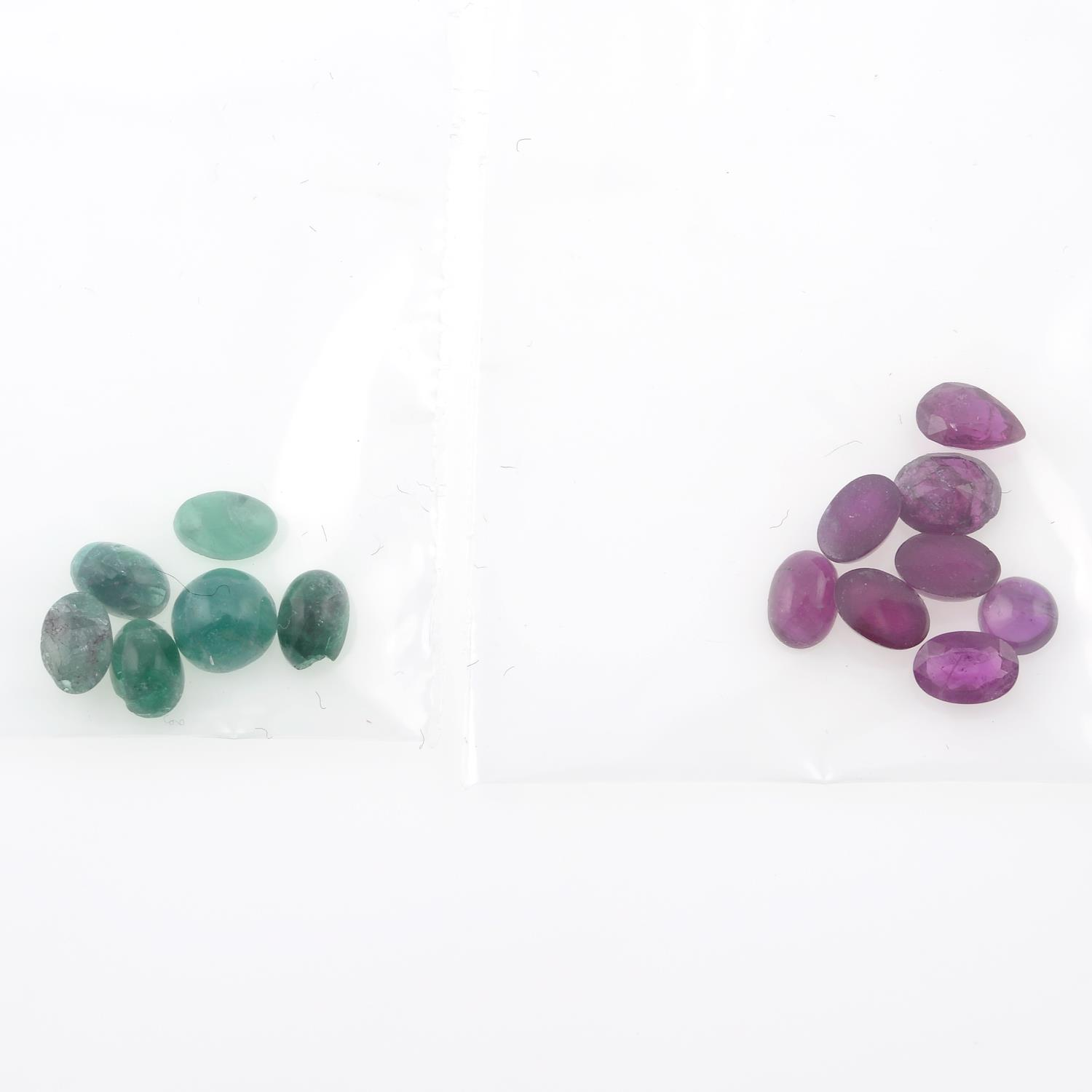 A selection of vari-shape emeralds and rubies. - Image 2 of 2