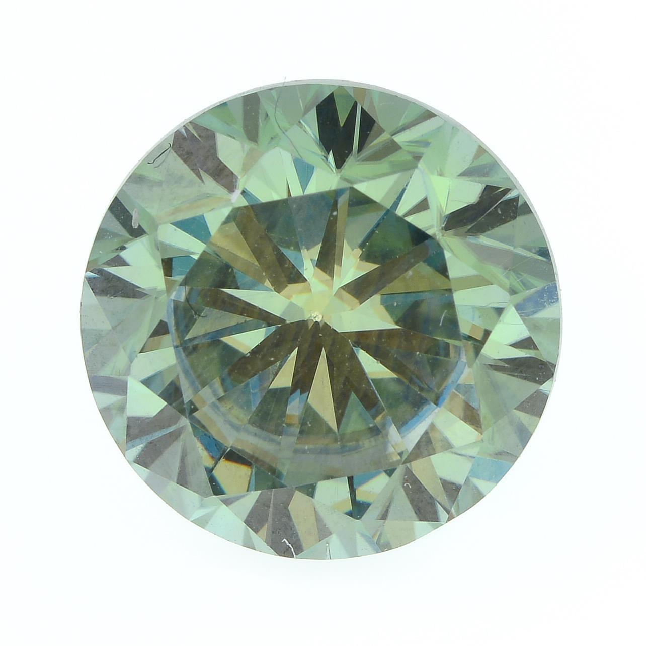 A circular-shape green moissanite.