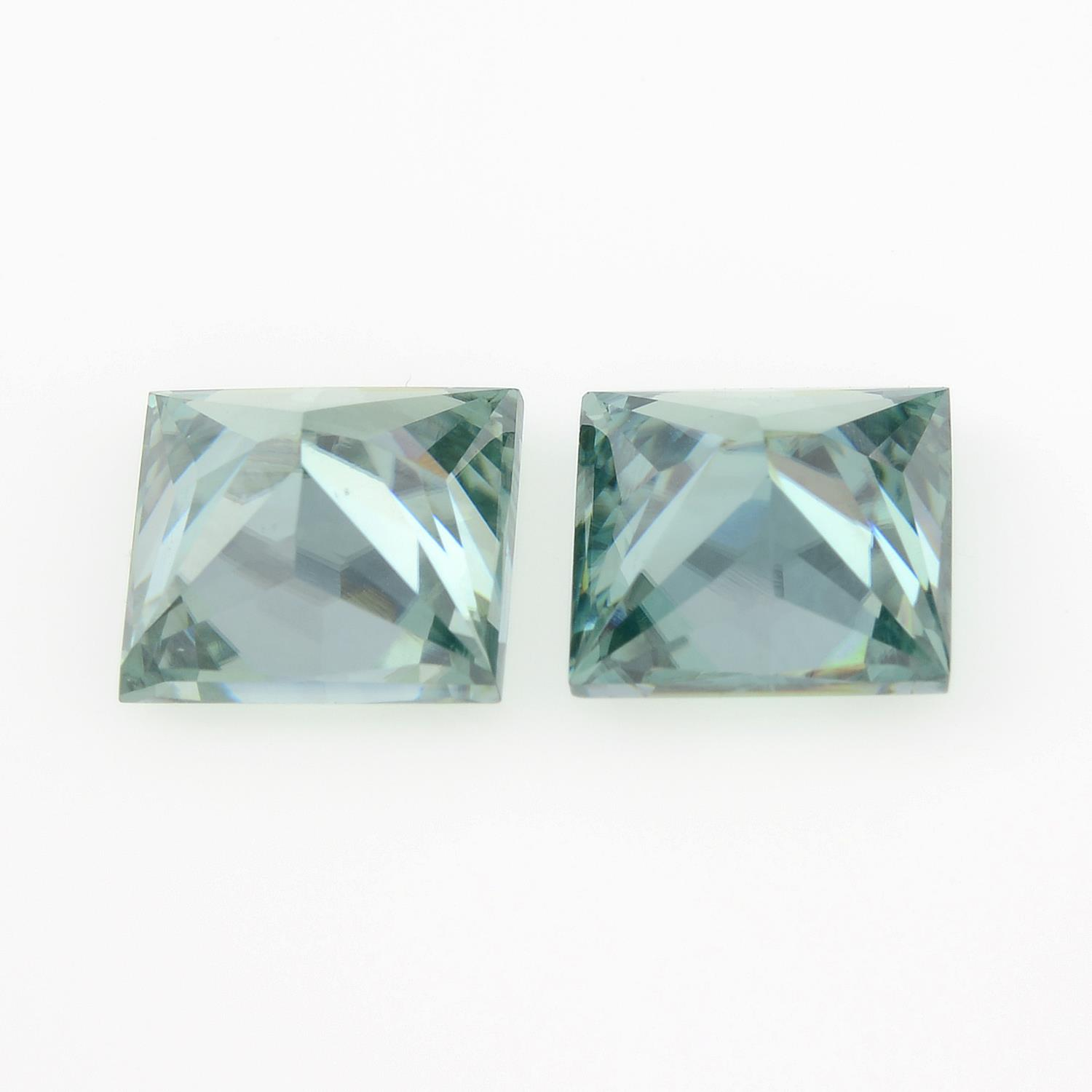 A pair of square-shape green synthetic moissanite, total weight 4.26cts. - Image 2 of 2