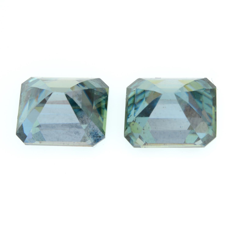 A pair of rectangular shape green moissanite. - Image 2 of 2