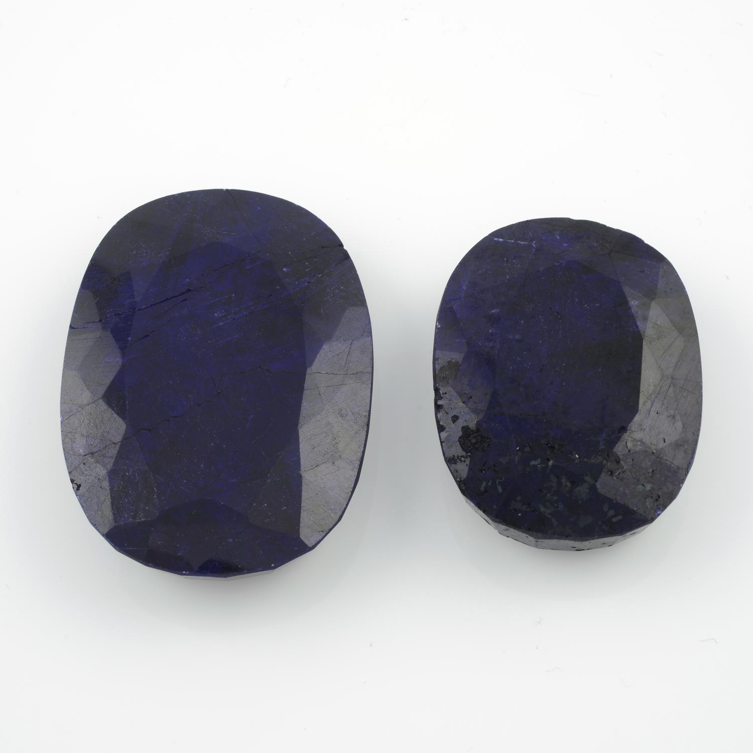 Four oval shape blue corundum,weighing 346gms. - Image 3 of 4