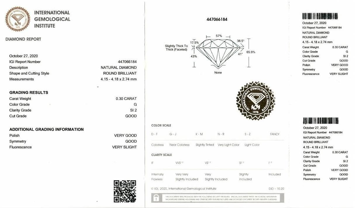 A brilliant cut diamond, weighing 0.30ct, measuring 4.15 by 4.18 by 2.74mms. - Image 4 of 4