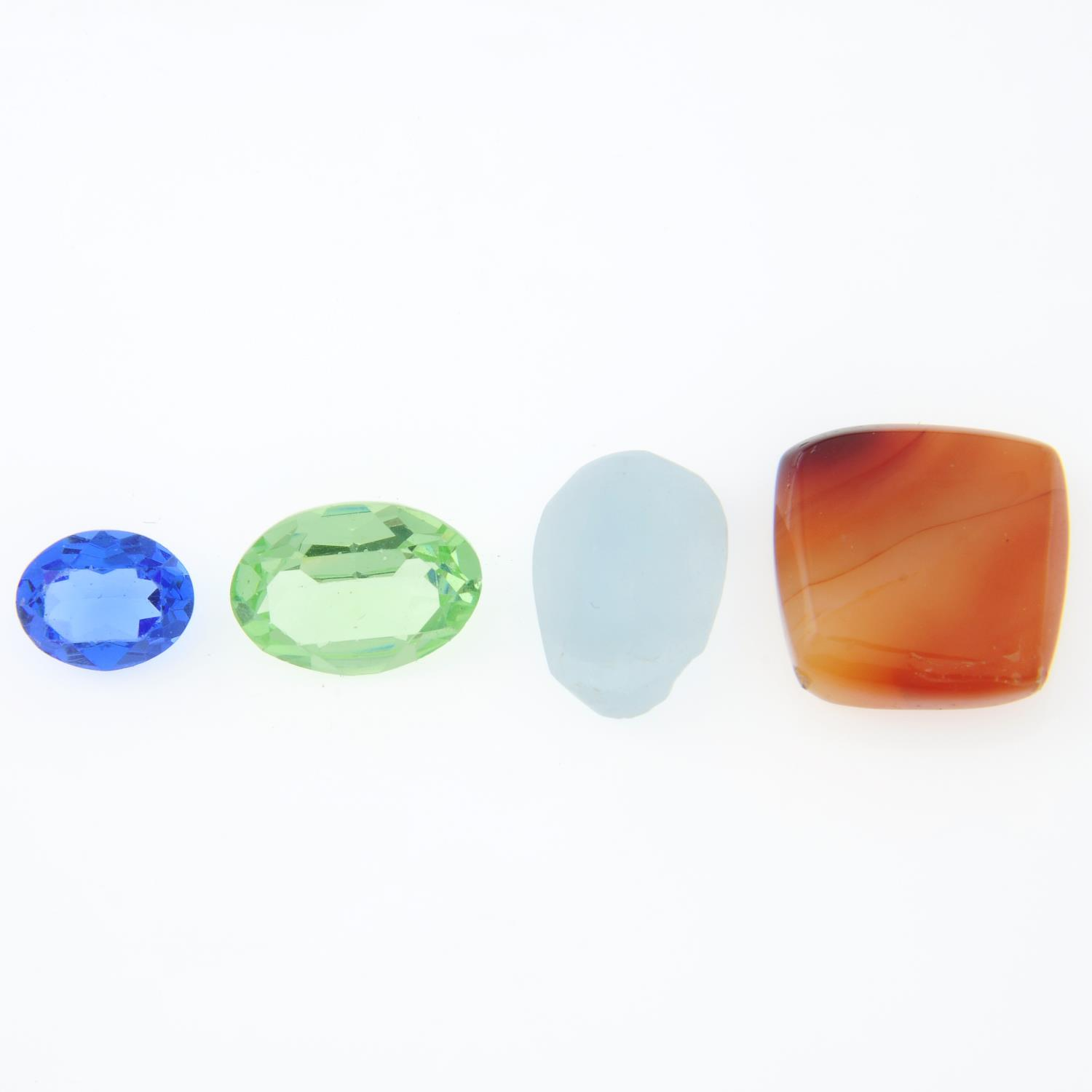 A selection of gemstones, weighing 1.1kgs, to include quartz, topaz, bloodstone and others.