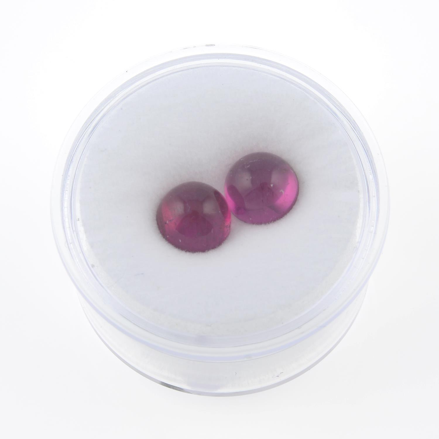 Pair of rubellite cabochons, weighing 3.66ct. - Image 3 of 3
