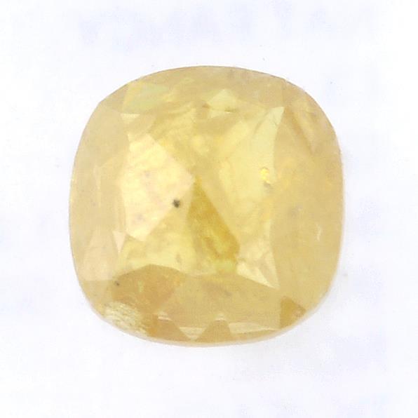 A cushion shape fancy yellow diamond, weighing 0.49ct.