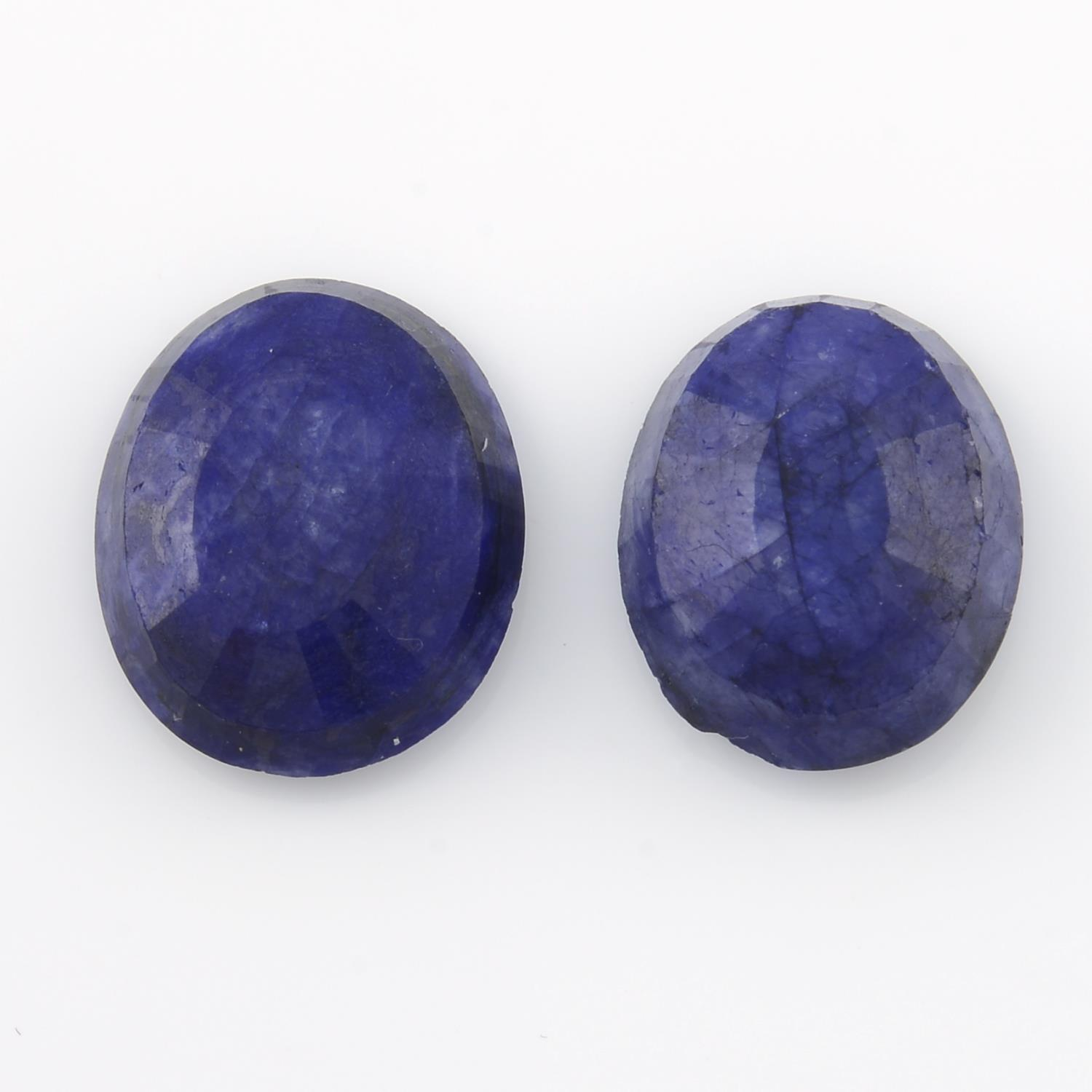 Four oval shape blue corundum,weighing 346gms. - Image 2 of 4
