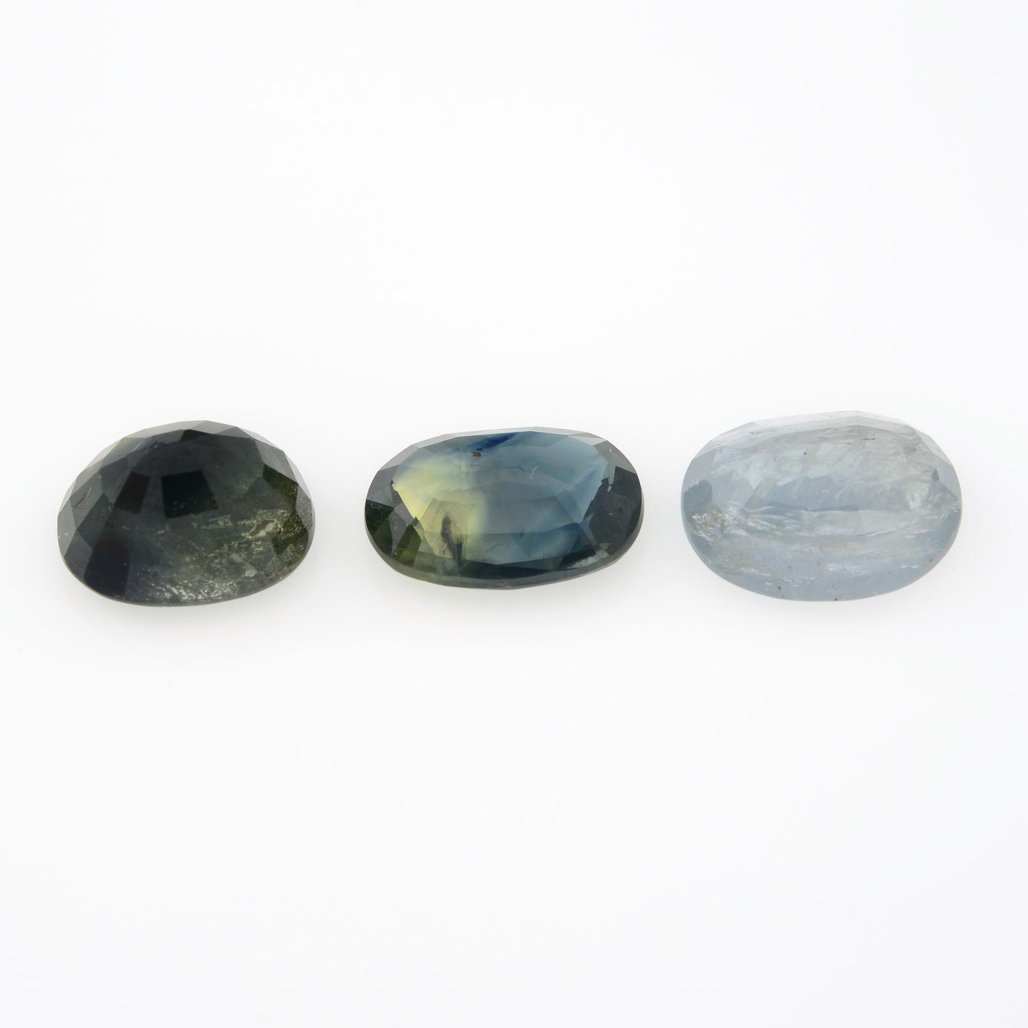 Three oval-shape sapphires, weighing 11.41cts. - Image 2 of 2
