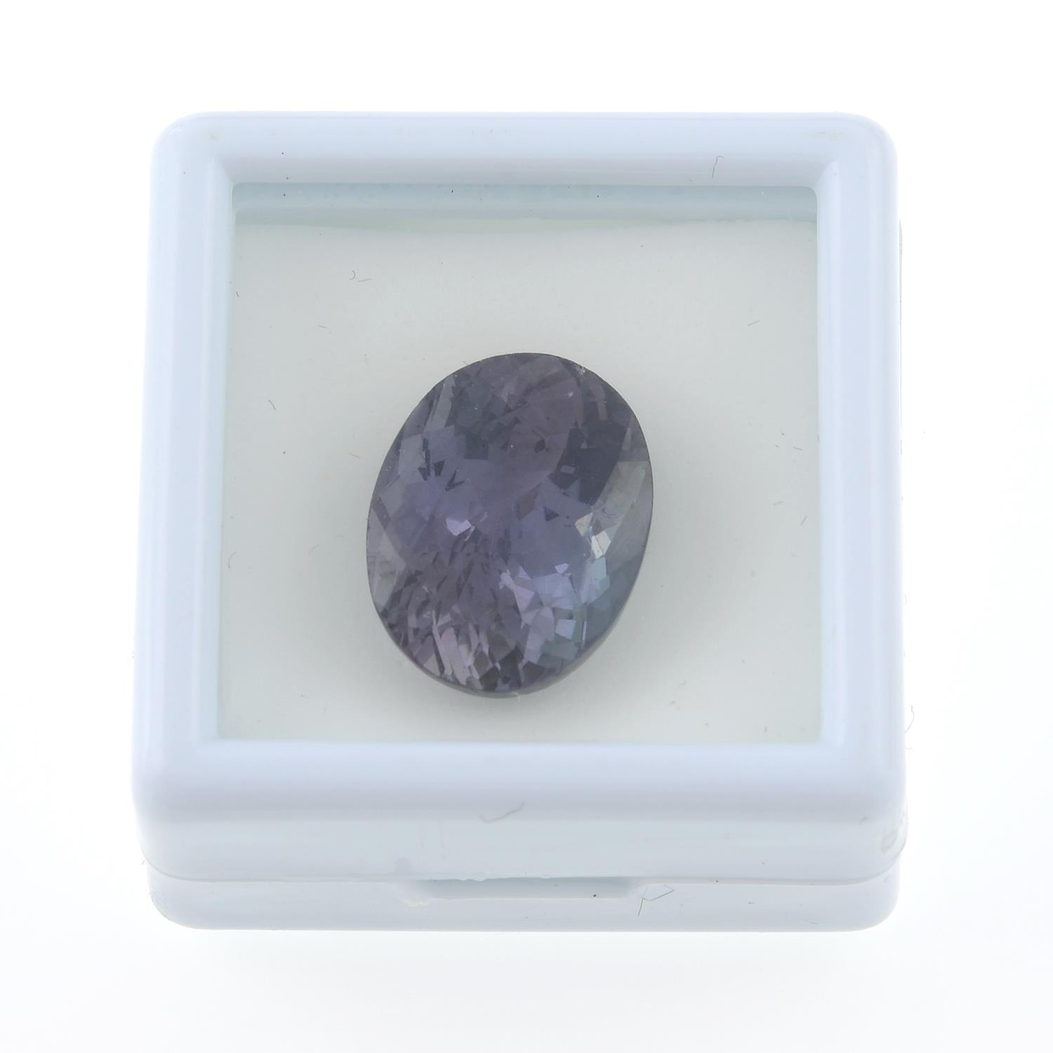 An oval-shape tanzanite, weighing 5.66cts. - Image 3 of 4