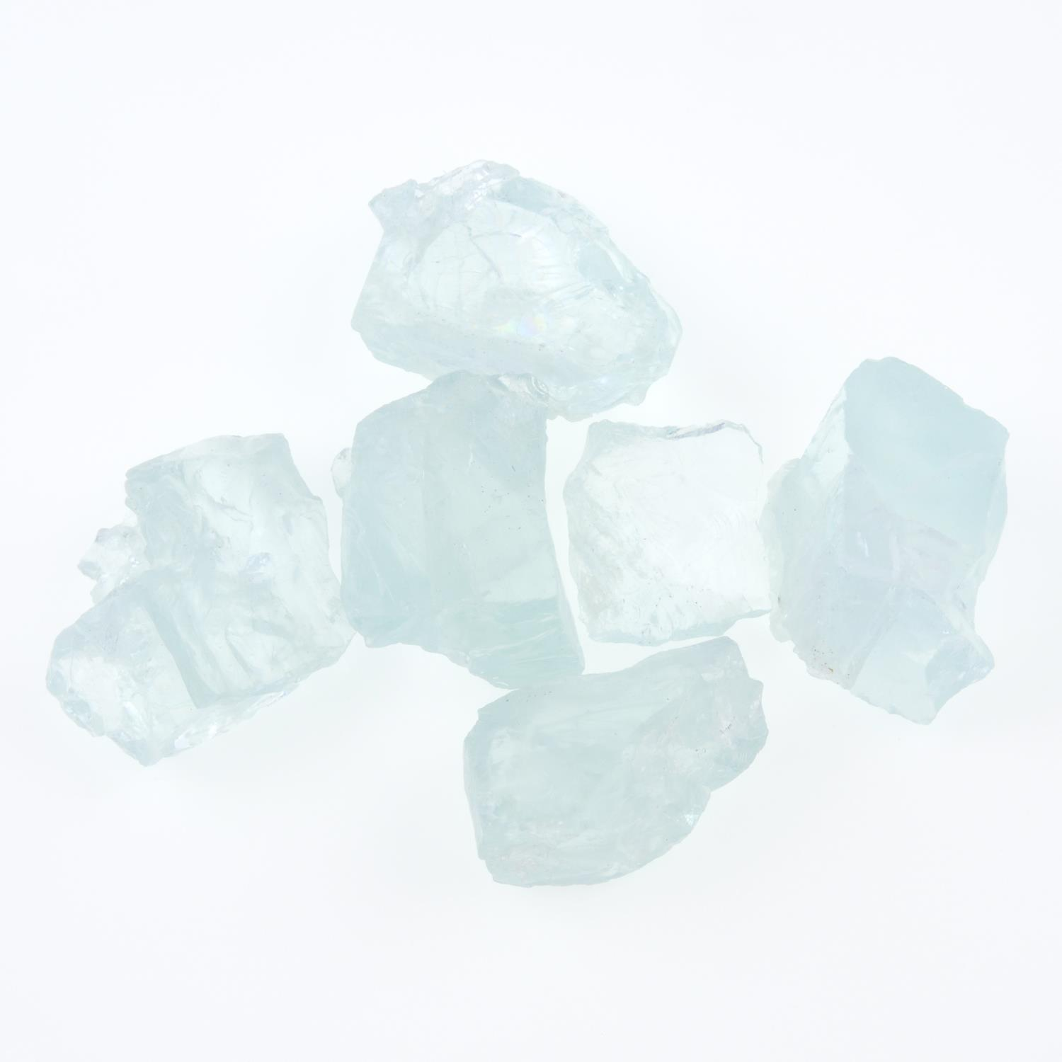 A selection of rough aquamarines.