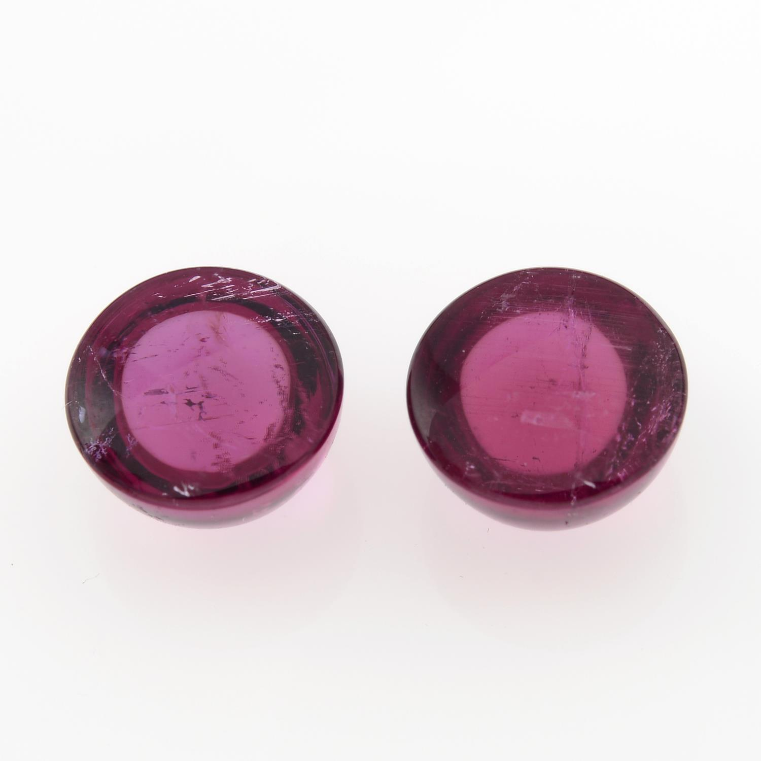 Pair of rubellite cabochons, weighing 3.66ct. - Image 2 of 3
