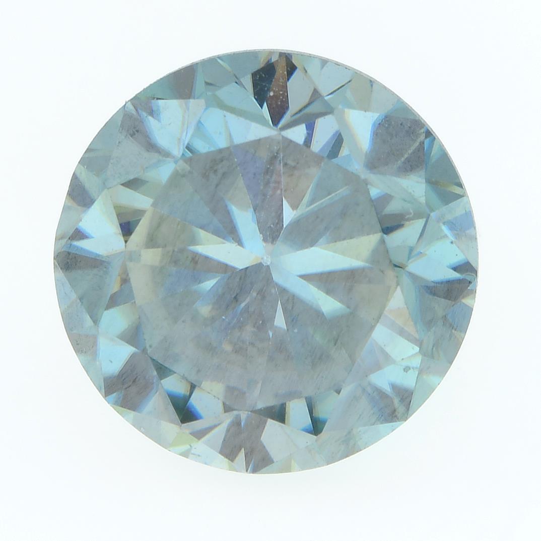 A circular-shape blue moissanite.