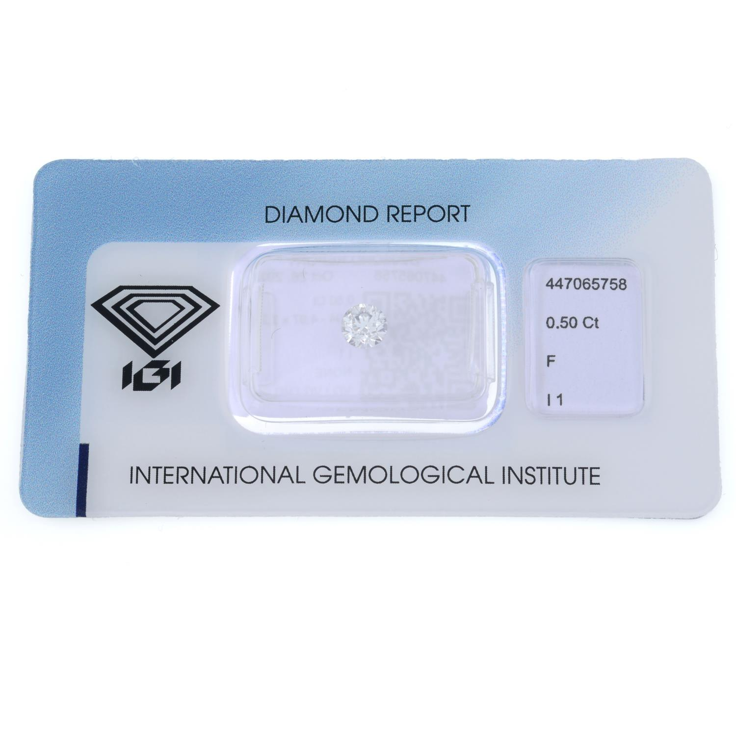 A brilliant cut diamond, weighing 0.50ct, measuring 4.94 by 4.97 by 3.2mms. - Image 2 of 4