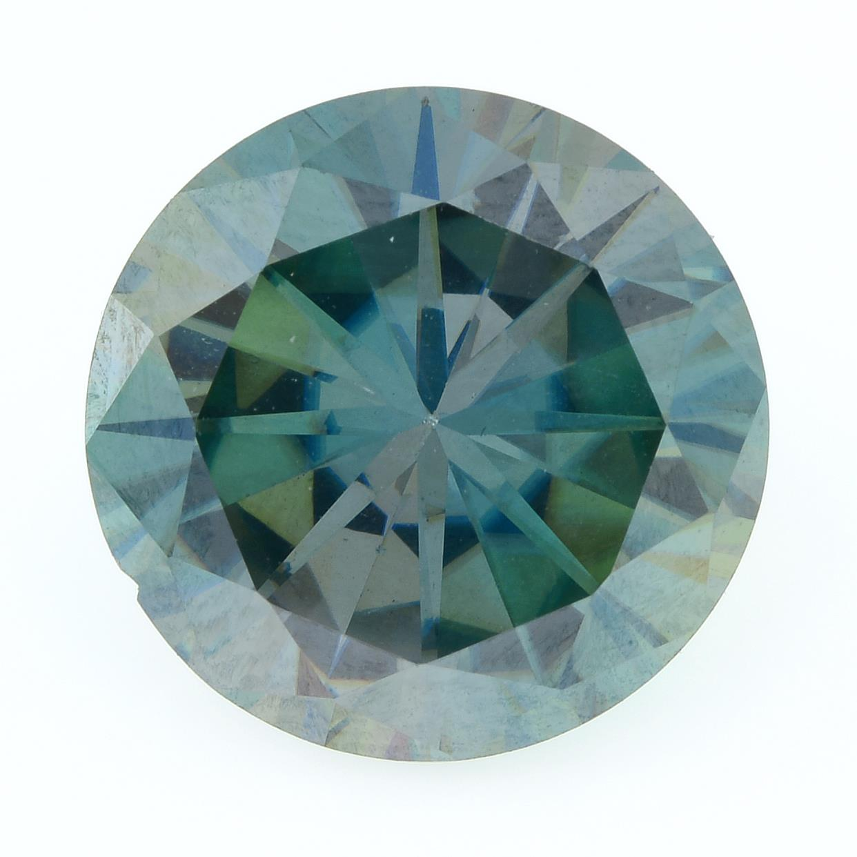 A circular-shape green synthetic moissanite, weighing 7.53cts.