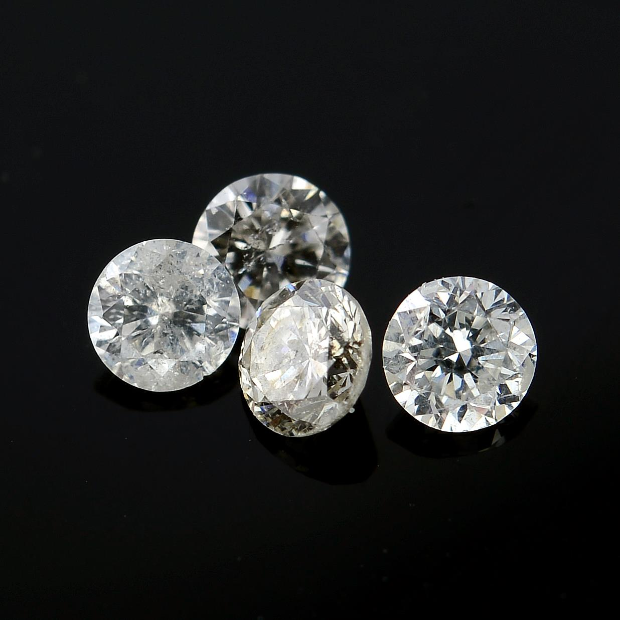 A selection of brilliant-cut diamonds, weighing 0.75ct total.