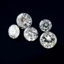 A selection of brilliant-cut diamonds, weighing 1.06cts total.