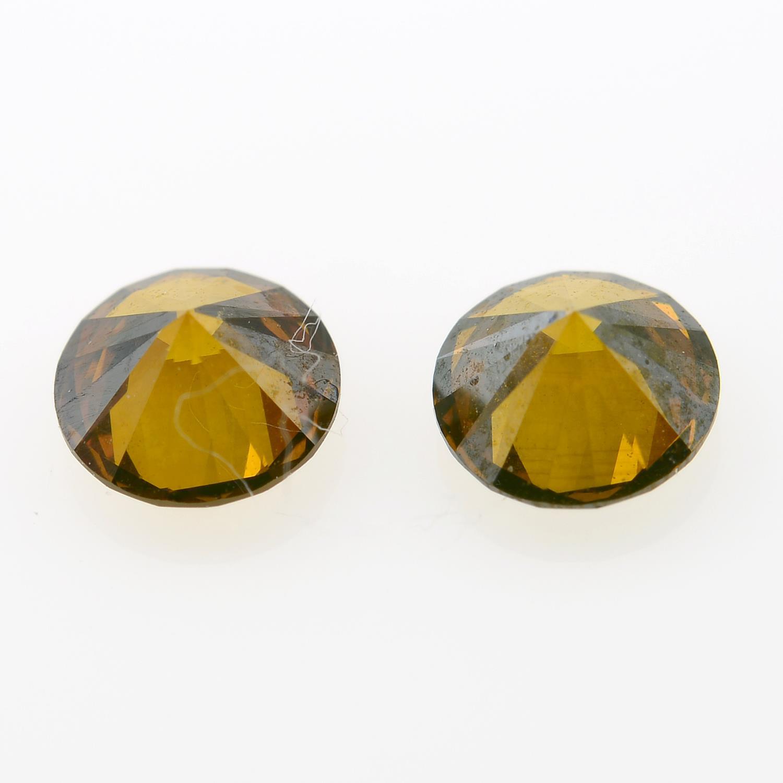 Pair of 'brown' diamonds, weighing 0.52ct total. - Image 2 of 2