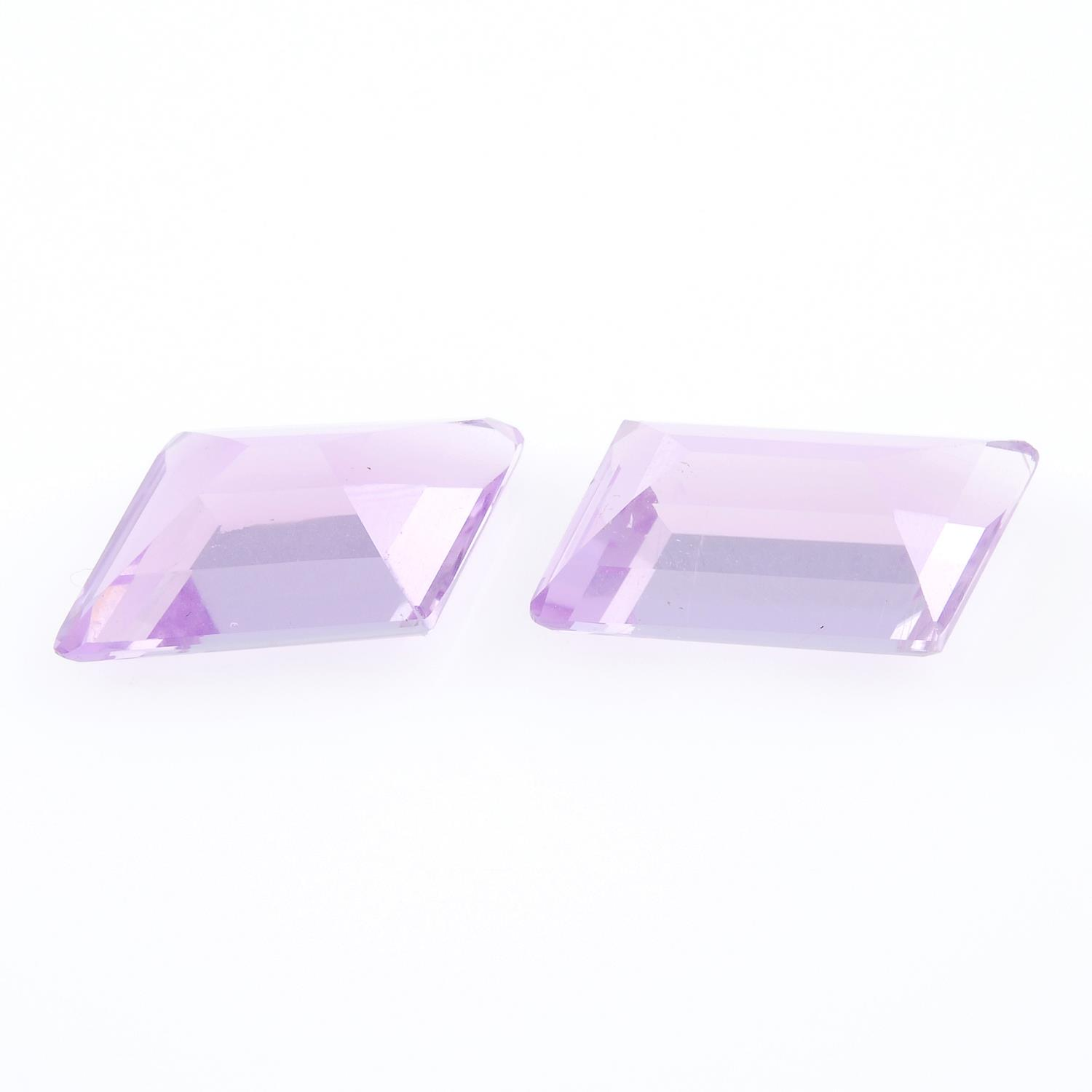 A pair of fancy shape kunzites weighing 13.51ct. - Image 2 of 2