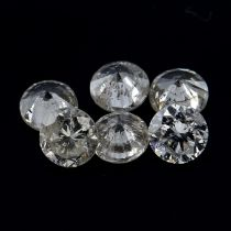 Fourteen brilliant-cut diamonds, weighing 1.04cts total.