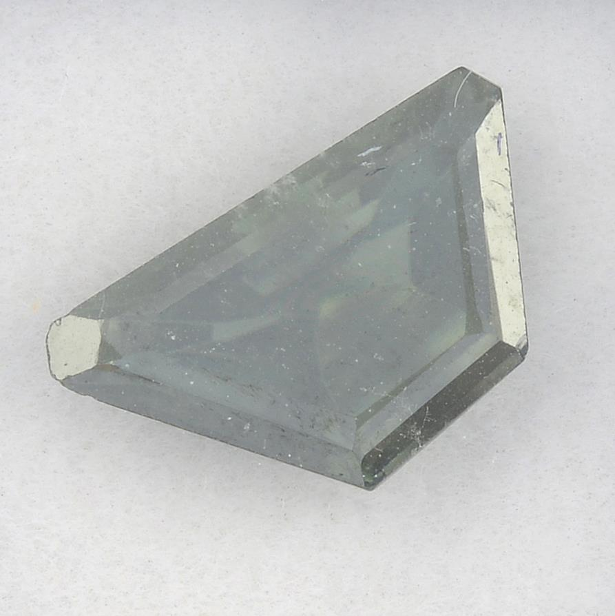 A fancy-shape green synthetic moissanite, weighing 2.85cts.