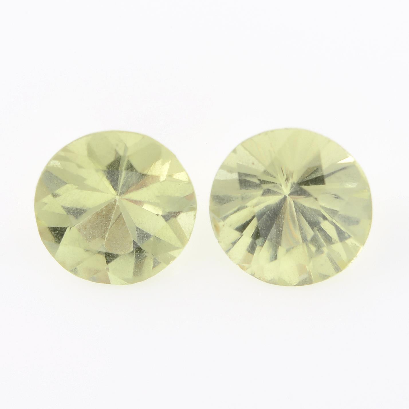 Two circular-shape chrysoberyl.