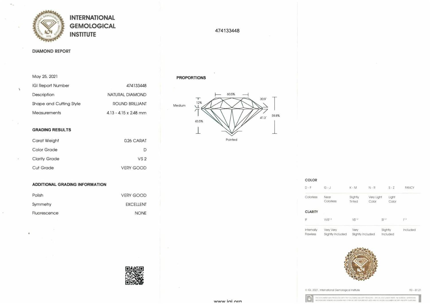 A brilliant cut diamond, weighing 0.26ct, measuring 4.13 by 4.15 by 2.48mms. - Image 4 of 4